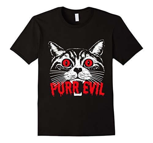 Mens Purr Evil. Satanic Cat Halloween T-shirt For Cat Lovers Large (Is Halloween Satanic)