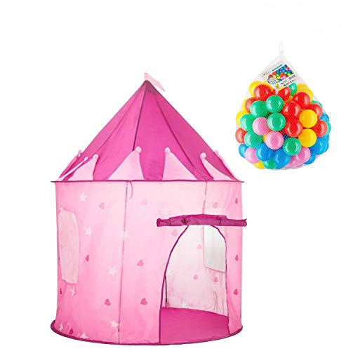 (Girls Princess Pink Play Tent, Castle Pop Up Playhouse Toy for Kids, Toddlers, Childrens, with 100 Plastic Toy Balls - Pretty Game and Portable Set - Indoor and Outdoor Use - Holiday Great Gift Idea )