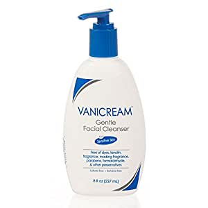 Vanicream Gentle Facial Cleanser for sensitive skin with pump dispenser - dye free, fragrance free, preservative free - oil free and non comedogenic - dermatologist tested - 8 ounce