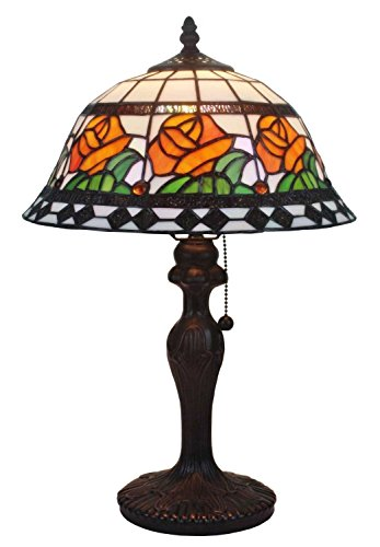 Tiffany Style Stained Glass Floral Light Table Lamp -