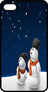 A Couple Of Snowmen Star Gazing Black Rubber Case for Apple iPhone 5c