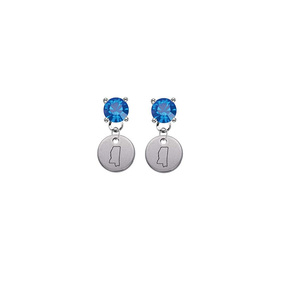Mississippi State Silhouette Blue Crystal Stud Post Dangle Earrings