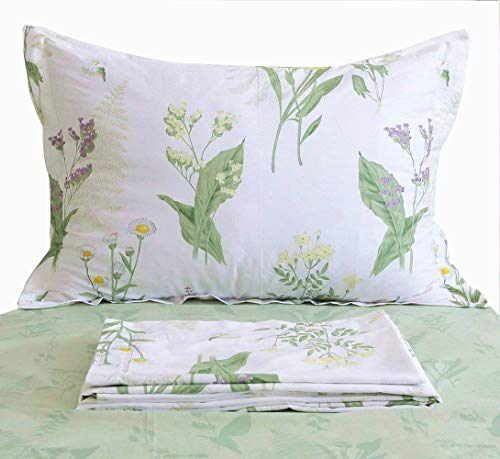 FADFAY Sheet Set Full Lavender and Daisy Floral 100% Cotton Hypoallergenic Green Deep Pocket Fitted Sheet 4-Pieces Full