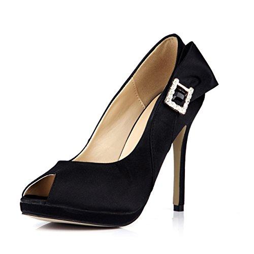 DolphinGirl Women Fashion Black Silk-Like Peep Toe High Heels with Rhinestone False Ruby Bowtie Dress Pumps Stiletto Shoes SM00097