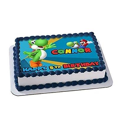 Amazon Joshi Super Mario Edible Cake Topper Personalized Birthday 1 2 Size Sheet Decoration Party Sugar Frosting Transfer Fondant Image