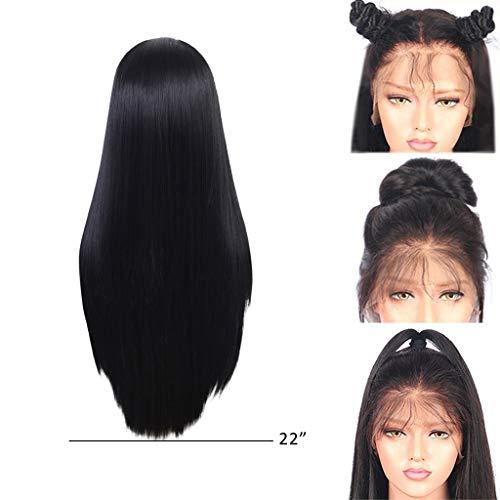 Women's Silky Long Straight Black Heat Resistant Synthetic Bangs Hair Wig Women (B) ()