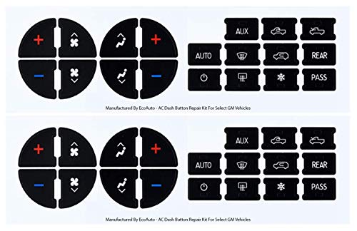 EcoAuto AC Dash Button Repair Kit for Select GM Vehicles – Fix Ruined Faded A/C Controls (Pack of 2) Premium Design & Made in USA
