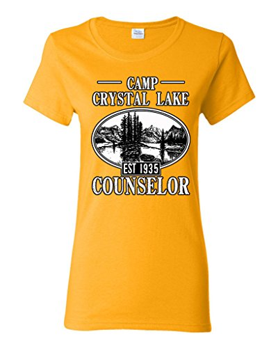 Ladies Camp Crystal Lake Counselor 1935 Summer TV Parody Funny DT T-Shirt Tee (Medium, Gold)
