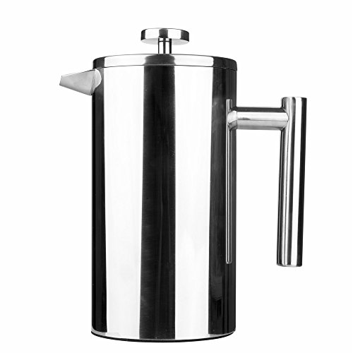 Stainless Steel French Press 8-Cup Coffee Tea & Espresso Maker, 34oz, 1L(1000ML)
