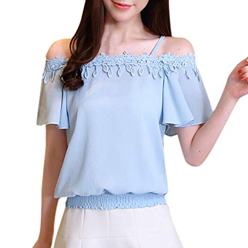 (Lovor Spaghetti Strap Womens Casual Off Shoulder Short Sleeve Chiffon Slash Neck Lace Patchwork Pleated Crop Top (Blue,S))