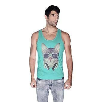 Cero Cool Cat Retro Tank Top For Men - Xl, Green