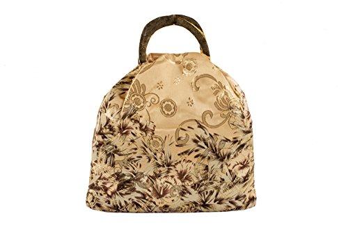 Pochette AC 326 Fiori, borsetta in pura seta con manici in metallo e stampa a fantasia