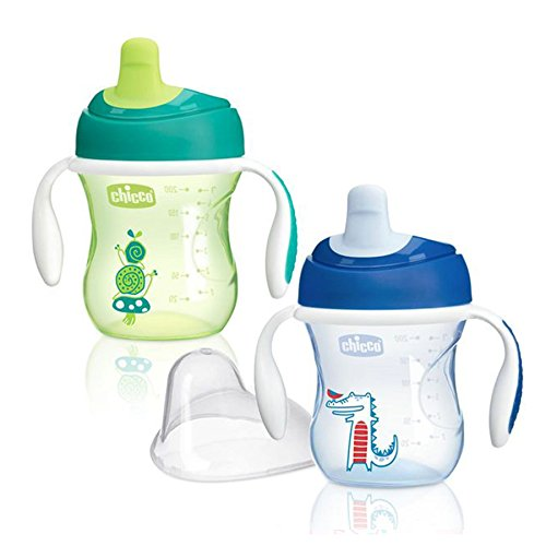Chicco NaturalFit Semi Soft Spout Trainer Sippy Cup, Green/Blue, 7 Ounce, 2 Count