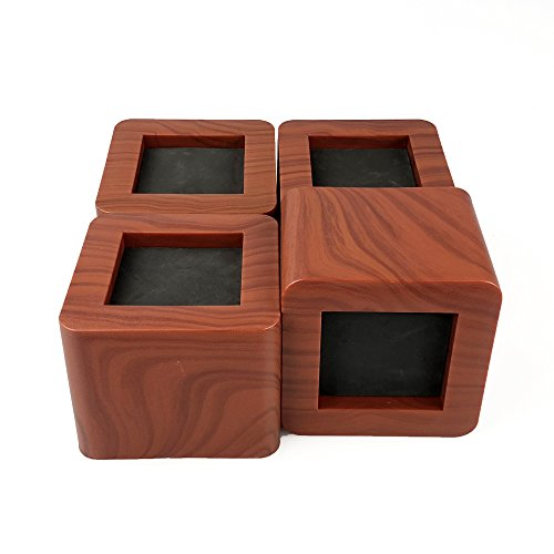Aspeike 4PCS Bed Risers 3 Inch/Heavy Duty Wooden Color Furniture Riser/Dark Brown Sofa Risers or Table Risers