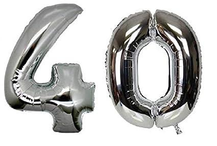 Amazon.com: c-spin 16 inch 40 plata Número globo 16