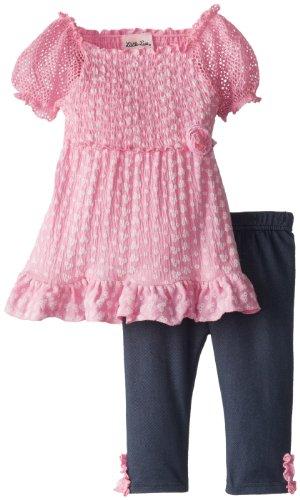 Little Lass Girls 2-6X 2 Piece Eyelet Printed Knit Gauze Capri Set Smocked