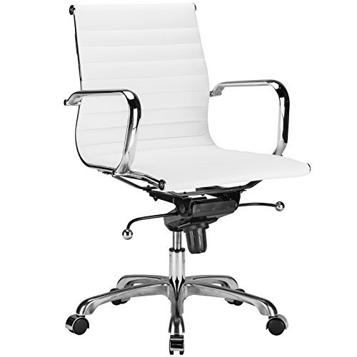 Poly and Bark Ribbed Mid Back Office Chair in Vegan Leather, White