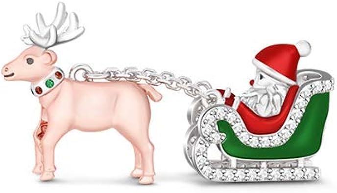 GNOCEFrohe Weihnachten Charm Anh/änger 925 Sterling Silber Weihnachtsmann Kommt in die Stadt Bead Charms Schmuck f/ür alle Armb/änder Halsketten Schmuck Geschenk f/ür Frau Tochter