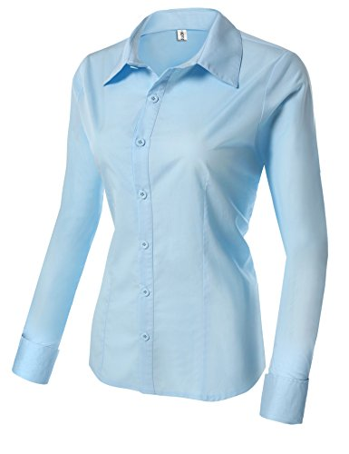 Ou Casual Femme Chemisier Manches 100 Chemise Business HOTOUCH Clair Longues Bleu Coton fn1xZaZ8q