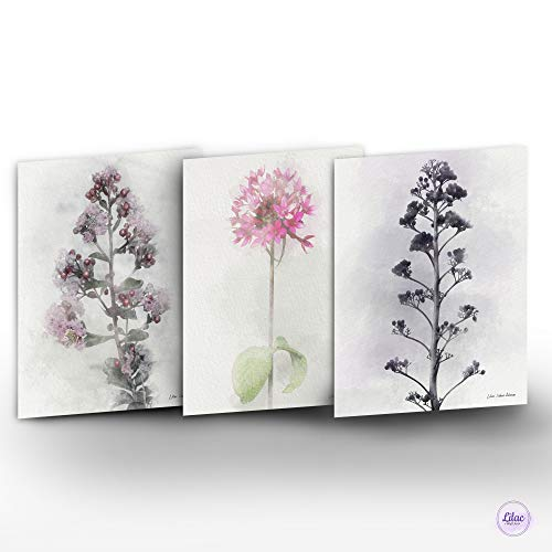 Handmade Floral Wall Art Home Décor, Bohemian Botanical Flower Watercolor Painting Prints Set of 3, Boho Decoration Collection for Any Room, Housewarming & Hostess Gift Idea, 8 X 10, Unframed from ZoharLilac