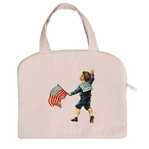 Tablet Bag Canvas Handles Little Boy Holding America Flag Holidays