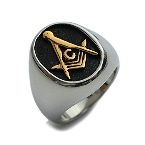 Bishilin Stainless Steel Mens Masonic Jewelry Ring G Mason Master Rings Size 11
