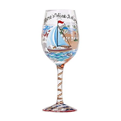 "Designs by Lolita ""Anchors Away"" Hand-painted Artisan Wine Glass, 15 - Shop Glass Nearest"