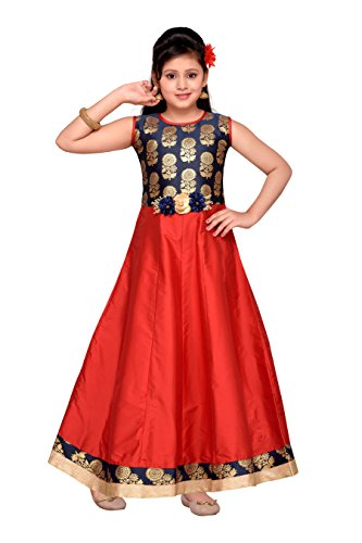 (ADIVA Girl's Indian Party Wear Gown for Kids (G-1775-RED-24))