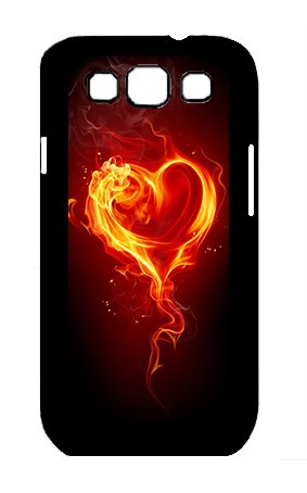 Character The Fire And Heart Custom Case For Samsung Galaxy S3 I9300 Black Plastic Snap Slim Case.