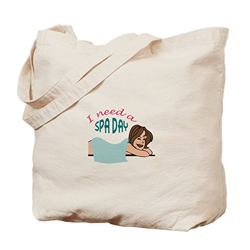 CafePress - I NEED A SPA DAY - Natural Canvas Tote Bag, Cloth Shopping Bag by CafePress (Image #2)