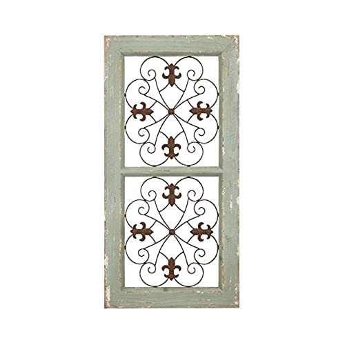 Deco 79 Traditional Metal And Wooden Wall Panel Rustic Finish