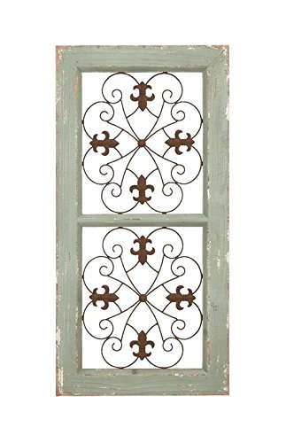 Deco 79 Traditional Metal and Wooden Wall Panel, Rustic Finish