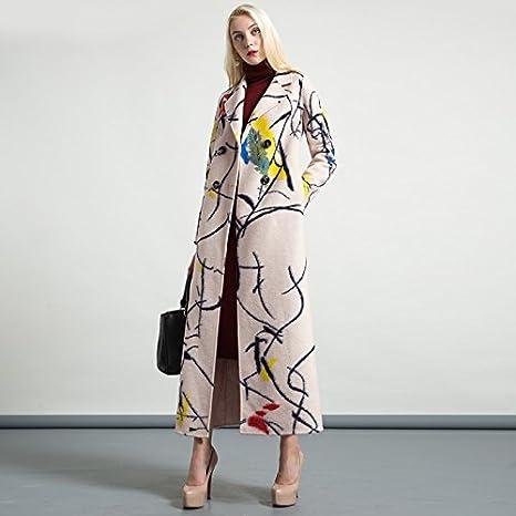 Womens HIDRRU Lana El nuevo cabello-nueva capa abrigos de invierno y otoño cálido pelo largo) vellón de lana chica ss6261, beige ,S: Amazon.es: Deportes y ...