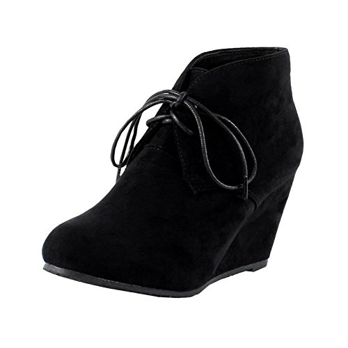 Anna Sally-5 Womens Adorable Almond Toe Lace Up Wedge Ankle Bootie,Black,9