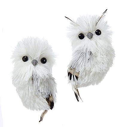 kurt adler 51 silver hanging owl christmas ornament 2 assorted - Owl Christmas