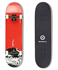 This is a masterpiece of our skateboard engineering, a combination of excellent parts forged by top notch materials.The deck is cold press by 7-ply hardrock maple and epoxy glue, max support weight up to 220lbs.The mediate concave and spacio...