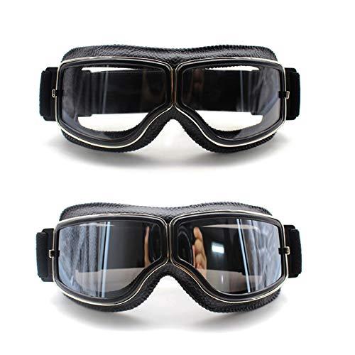 ACAMPTAR Gafas Retro de Motocicleta Gafas Piloto Cruiser Gafas de Motocicleta Cuero Vintage para Gafas Harley Clean
