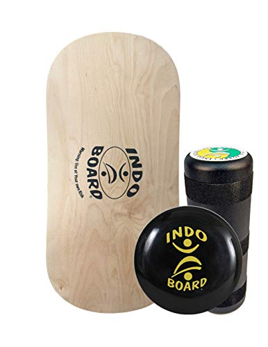 INDO BOARD Rocker Balance Board Package Ages, Improve Balance, Comes with 33'' X 15'' Non-Slip Deck 6.5'' Roller and 14'' Cushion - Natural Wood by INDO BOARD (Image #1)