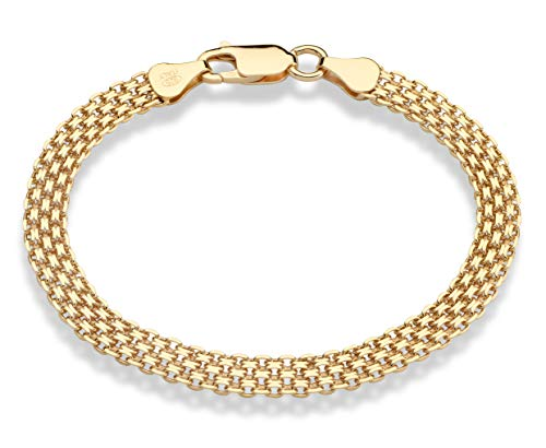 (MiaBella 18K Gold Over Sterling Silver Italian 6mm Solid Bismark Mesh Link Chain Bracelet for Women, 7