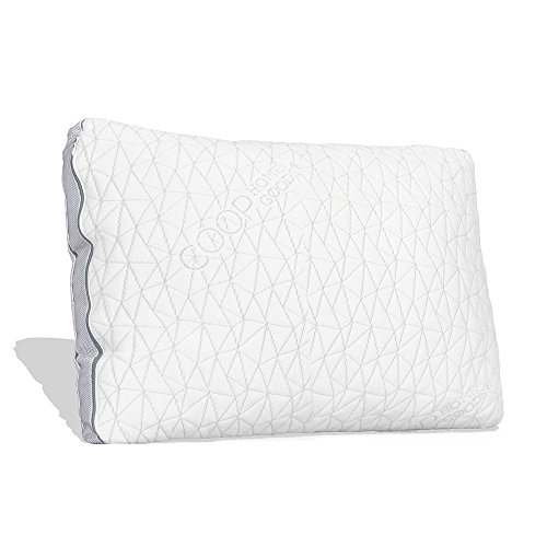 Coop Home Goods - Shredded Memory Foam with Zippered Cover and Adjustable Hypoallergenic Cooling Gel Infused Memory Foam Fill - Eden Pillow - Single - Queen - White