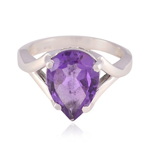 RGPL-Lucky Gemstone Pear Faceted Amethyst Rings - Solid Silver Purple Amethyst Lucky Gemstone Ring - Art & Collectibles Greatest Selling Shops Gift for Girlfriend Dainty Ring