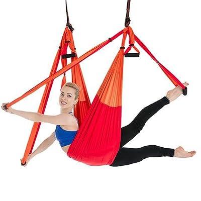 Alger Anti multifonctionnel de yoga de vol d'air de conditionnement physique multifonctionnel de hamac de volant aucune élasticité, 250 * 150cm , Orange Red