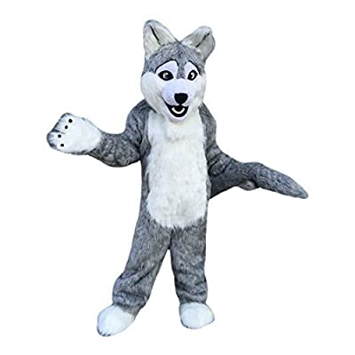 Grey Wolf Mascot Costume Cartoon Character Adult Sz Real Picture Langteng(TM)