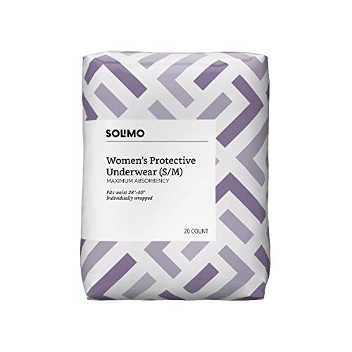 Amazon Brand - Solimo Incontinence Protective Underwear for Women, Maximum Absorbency, Small/Medium, 60 Count (3 packs of 20)