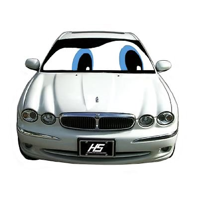 Universal 24x58 inch Reflective Slanted BLUE EYES with Reflective SILVER Reverse side Front Windshield Window SUNSHADE Double sided Reversible for Car Truck Heat Sun Shade