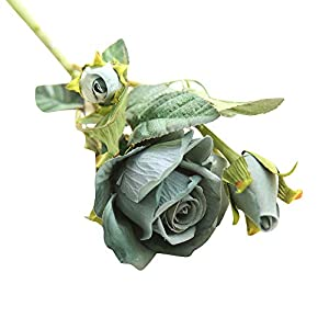 QIKI Artificial Fake Roses Flannel Flower Bridal Bouquet Wedding Party Home Decor (Green) 67