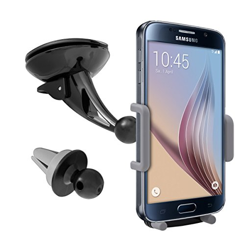 kwmobile Flexible KFZ Halterung für Smartphones - PKW Auto Halter für Scheibe und Lüftung - z.B. geeignet für Samsung, Apple, Wiko, Huawei