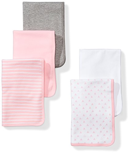 (Moon and Back Baby Set of 5 Organic Reversible Lined Burp Cloths, Pink Blush, One Size)