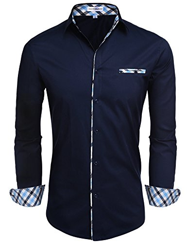 (Hotouch Men Oxford Shirts Botton Dress Shirt Navy Blue L)