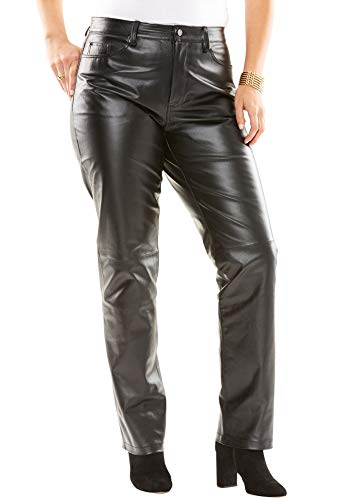 Jessica London Women's Plus Size Tall Straight Leg Leather Pants - Black, 12 W